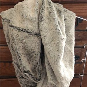 Extremely soft fur infinity scarf grey and cream